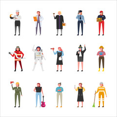 A female character set in various job uniforms. flat design vector graphic style concept illustration.