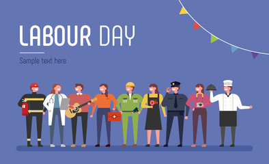 A set of characters dressed in uniforms of various occupations to celebrate Labor Day. flat design vector graphic style concept illustration.
