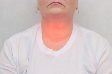 Adult woman on a white background which has a thyroid gland, nodes in the thyroid gland, close-up, endocrine system