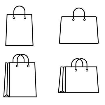 Shopping bag outline icon, logo on white background