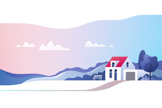 Rural landscape. Suburban traditional  house. Family home. Vector illustration.