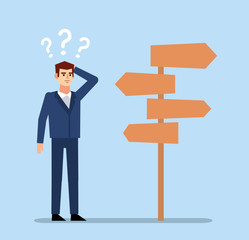 Confused businessman stands at crossroads and thinks where to go. Choose business direction concept. Flat design vector illustration