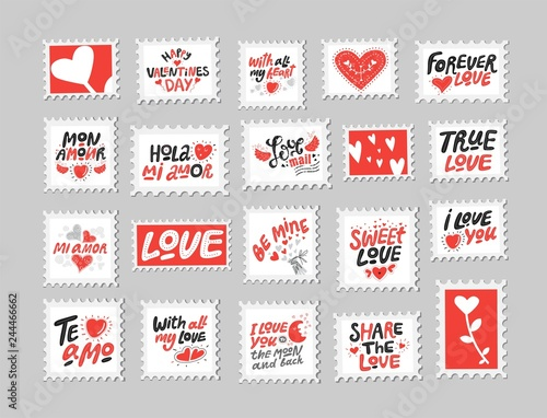 Love Post Stamps Set Love Quotes Sayings Stock Image And Royalty