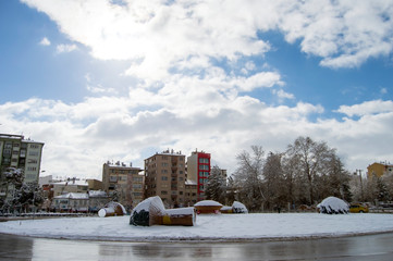 Beautiful Snow Landscape of Eskisehir in Winter season. Eskisehir is one of the  modernest city of Turkey.