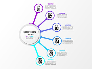 Business Infographics Element Vector Design Template. Data Visualization Timeline with circles, steps, number options most useful can be used for workflow layout, presentation, diagram, annual reports