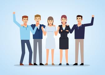 Cheerful people celebrating, successful team. Flat design vector illustration