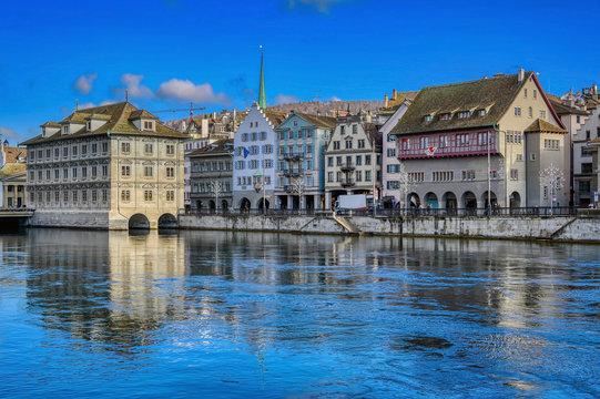 Zurich City and Lake Zurich in Switzerland