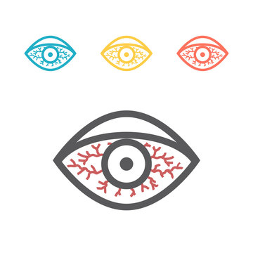 Red eye line icon. Vector sign for web graphics.