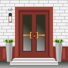 House door front with doorstep and steps, lamp, flowers in pots, building entry facade, exterior entrance with brick wall design illustration vector in flat style