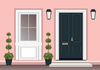 House door front with doorstep and steps porch, window, lamp, flowers in pot, building entry facade, exterior entrance design illustration vector flat style