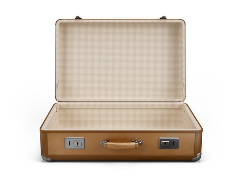 Vintage open suitcase isolated on white - 3d rendering
