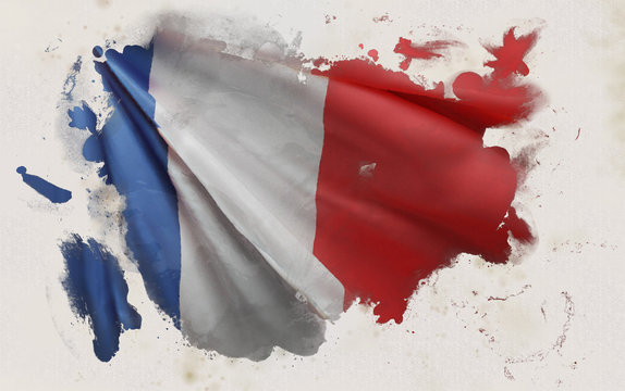 French Flag, France National Colors Background  <<3D Rendering>>