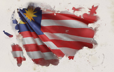Malaysian Flag, Malaysia National Colors Background  <<3D Rendering>> Fototapete