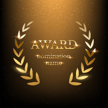 Golden shiny award sign with laurel wreath isolated on dark luxury background. Vector illustration.