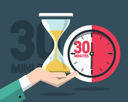 30 Minutes Clock Timer. Vector Time Symbol with Hourglass.
