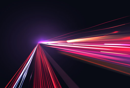 Vector image of colorful light trails with motion blur effect, long time exposure isolated on background
