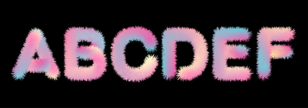Cute soft fur letters in 80s style