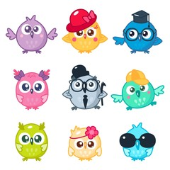 Set of cute colorful owls with different glasses and hats. Cartoon bird emojis and stickers. Vector illustration. Kawaii style.