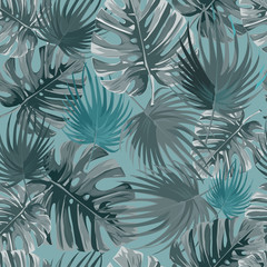 Tropical palm leaves, jungle leaves vector pattern.