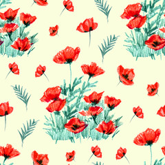 Poppies stripped seamless pattern. Red flowers on a yellow background.