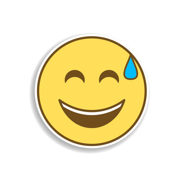 joy in a cold sweat colored emoji sticker icon. Element of emoji for mobile concept and web apps illustration.