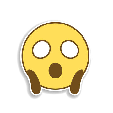 frightened colored emoji sticker icon. Element of emoji for mobile concept and web apps illustration.