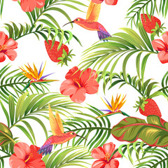 tropical pattern with flowers and hummingbirds