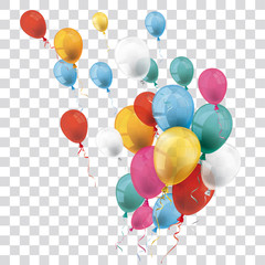 Colored Transparent Balloons Bunch Wind