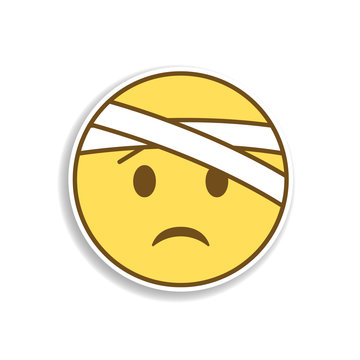 with bandaged head colored emoji sticker icon. Element of emoji for mobile concept and web apps illustration.