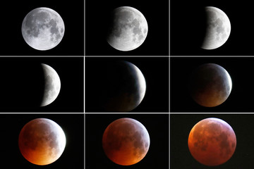 "A combination of nine pictures shows the full moon turning into the ""super blood wolf moon"" during a total lunar eclipse in Frankfurt"