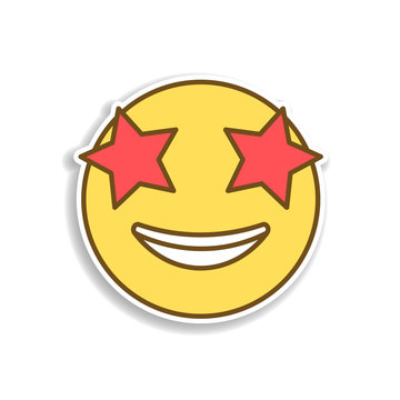 star eye colored emoji sticker icon. Element of emoji for mobile concept and web apps illustration.
