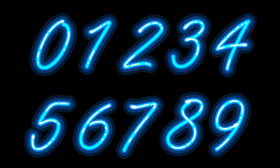 Neon alphabet font in blue numbers