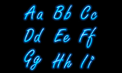 Neon alphabet font in blue part 1