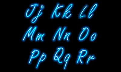Neon alphabet font in blue part 2