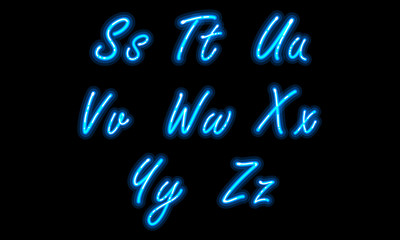 Neon alphabet font in blue part 3