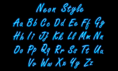 Neon alphabet font in blue small caps