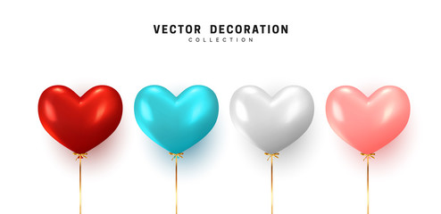 Fotomurales - Set Balloon heart shape isolated on white background. Holiday element design realistic baloon with gold ribbon and bow