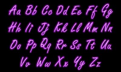 Neon alphabet font in purple small caps