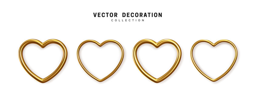 Set of decorative golden hearts isolated on white background