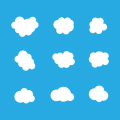 Set of clouds in blue sky. Cloud icon shapes. Collection of different clouds, label, symbol. Graphic vector design element for logo, web and prints.