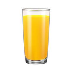 Glass with orange juice isolated on white background.