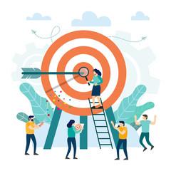 Fototapeta Goal achievement. Target with an arrow, hit the target obraz