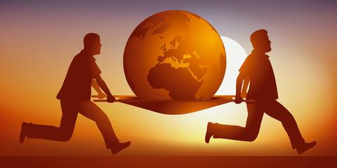 Concept du dérèglement climatique et de la destruction de l'environnement avec comme symbole, un homme détruisant la terre en la poussant dans un gouffre.