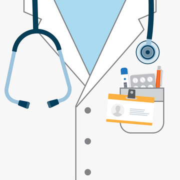 Doctor white coat with stethoscope.
