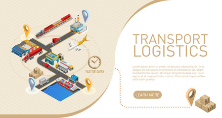 Explanation of transport logistics term near graphic scheme of delivery service for website