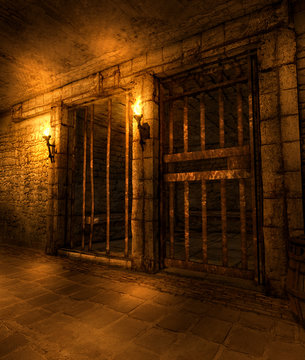 Dungeon Fantasy Hallway with Cells