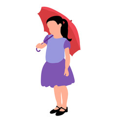 vector, on white background, faceless child girl with umbrella