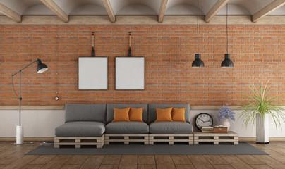 Pallet sofa in a vintage interior