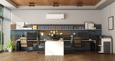 Large office with four workstation