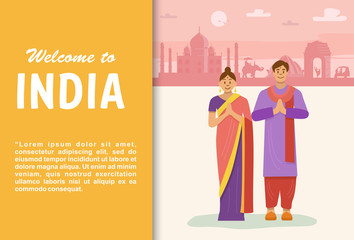 Flat design, Welcome to India Banner, vector